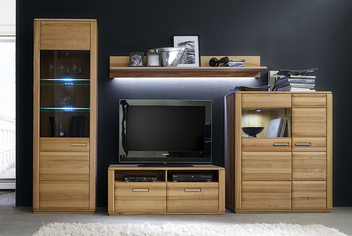 wohnwand sena in kernbuche ge lt g nstig massiva m. Black Bedroom Furniture Sets. Home Design Ideas