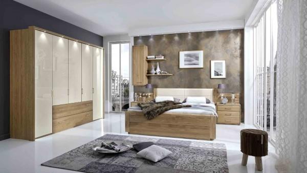 Schlafzimmer Wiemann Lido Eiche teilmassiv Absatz Glas magnolie + Beleuchtung + Passepartoutrahmen