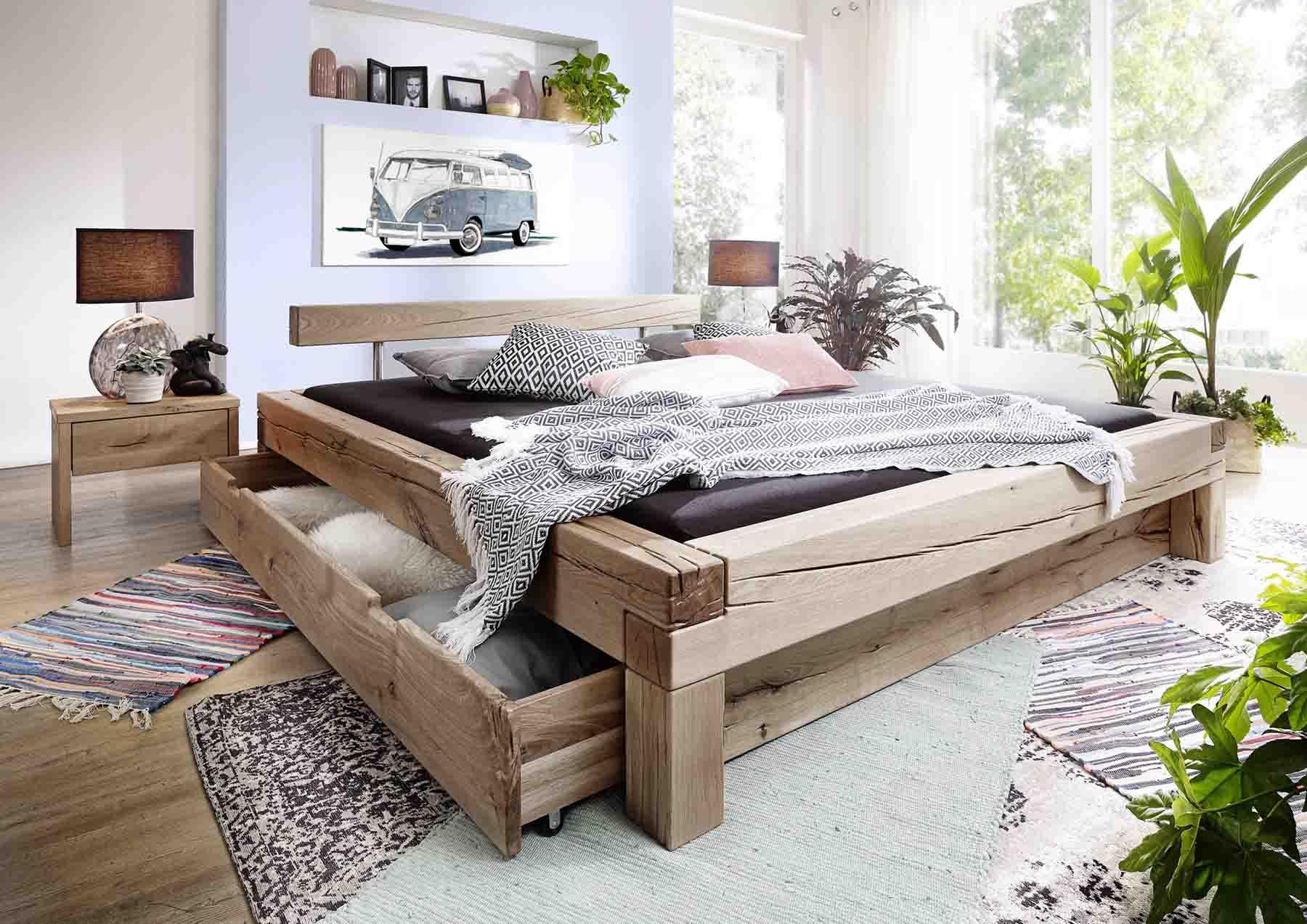 balkenbett elias mit balkenkopfteil wildeiche massiv. Black Bedroom Furniture Sets. Home Design Ideas