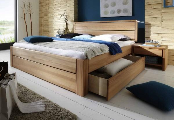 Schubladenbett Easy Sleep + 2 Nachtkonsolen Komforthöhe Kernbuche geölt