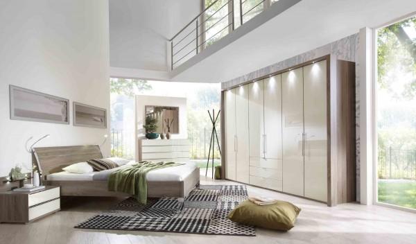 Schlafzimmer Loft in Glas Magnolie Trüffeleiche