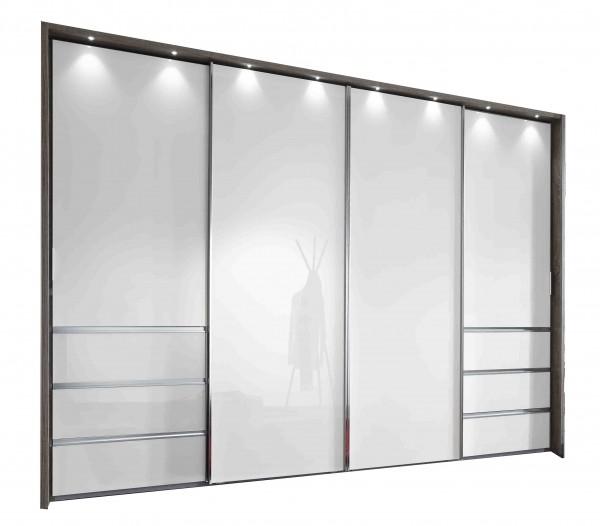Kleiderschrank Malibu Breite 330 Cm Glas Weiß Angebot Massiva
