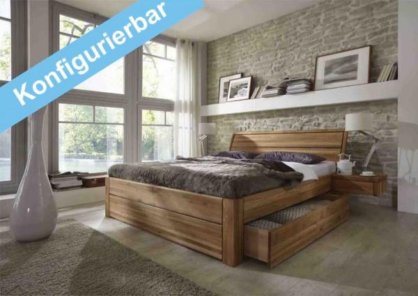 Schubladenbett konfigurieren, Easy Sleep Eiche massiv geölt
