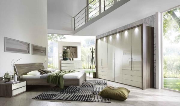 Loft Schlafzimmer in Trüffeleiche Absatz Glas Magnolie