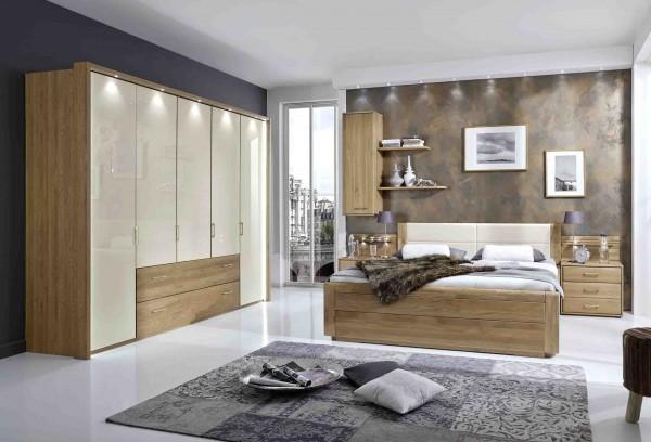 Schlafzimmer Wiemann Lido Eiche teilmassiv Absatz Glas magnolie