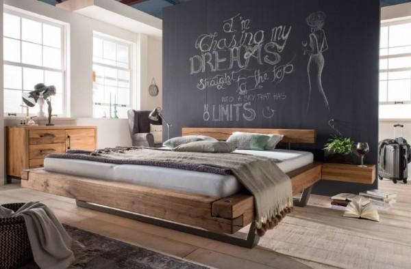 Schwebebalkenbett Kopenhagen in Wildeiche massiv geölt