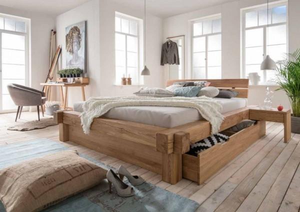 Balkenbett Oslo 200x200 cm mit Schubladen Wildeiche massiv