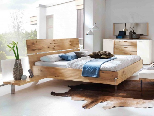 bett thielemeyer loft mit holzkopfteil eiche g nstig massiva m. Black Bedroom Furniture Sets. Home Design Ideas