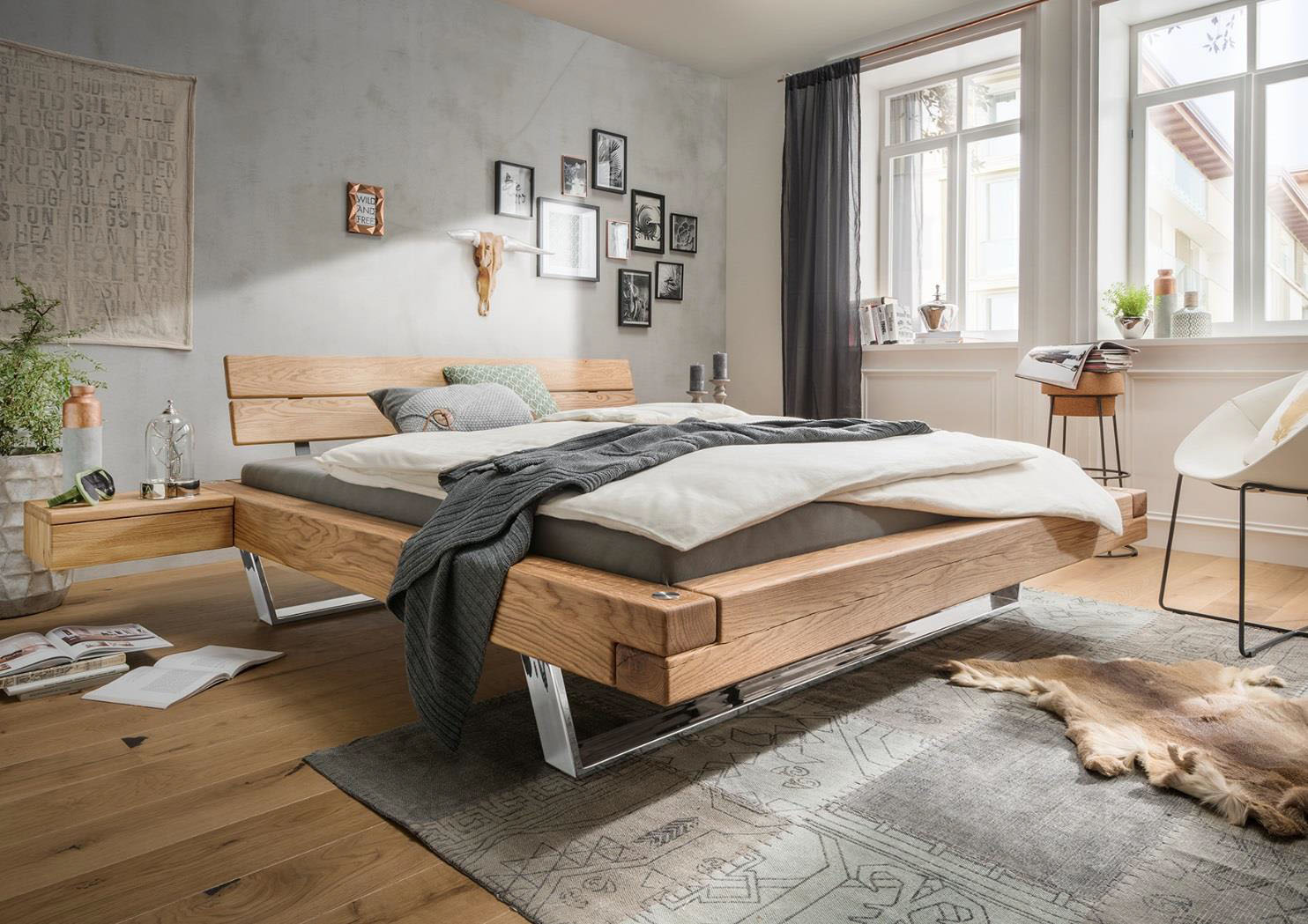 schwebebalkenbett aalborg wildeiche massiv ge lt g nstig. Black Bedroom Furniture Sets. Home Design Ideas