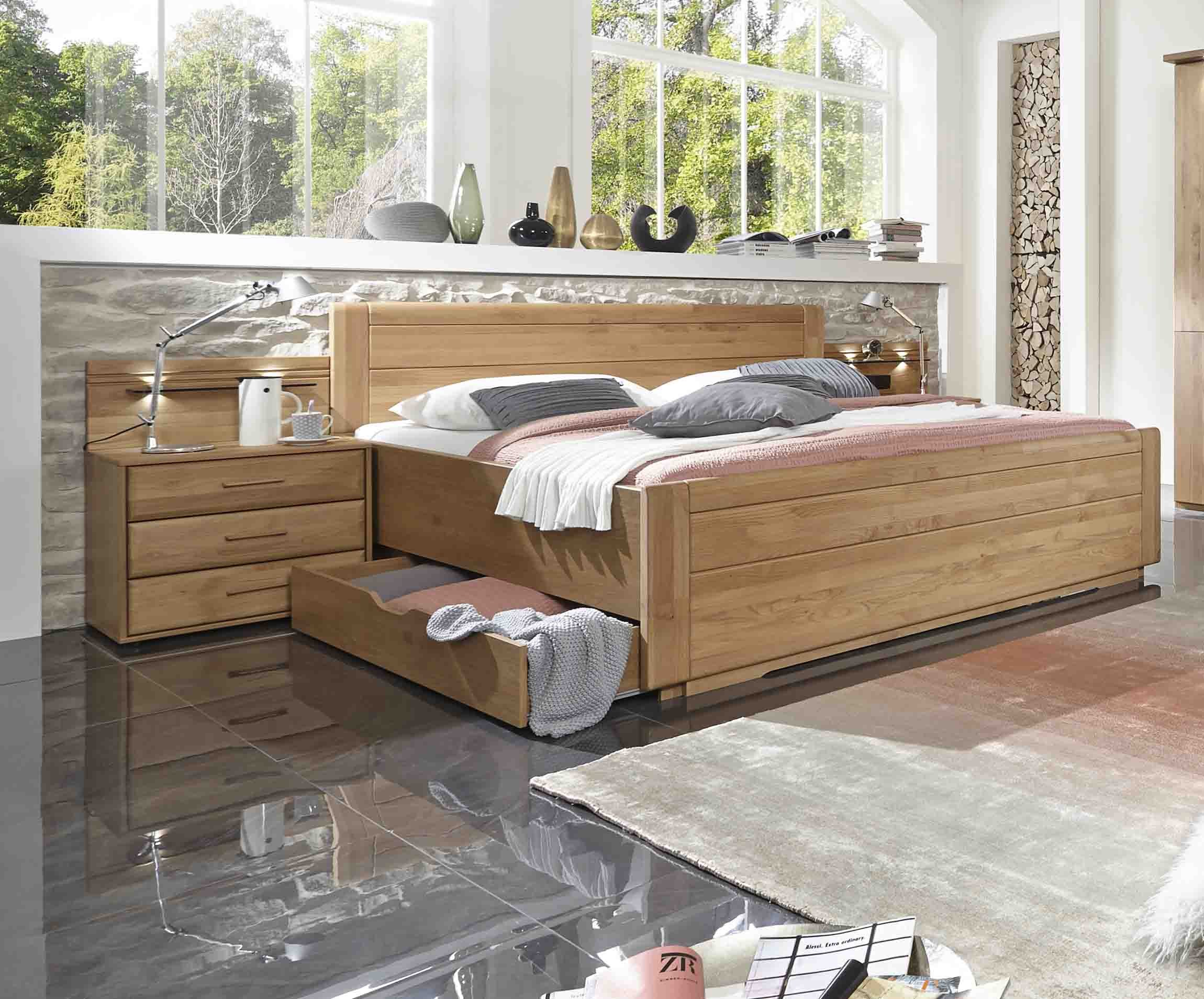 schubladenbett wiemann lido erle teilmassiv massiva. Black Bedroom Furniture Sets. Home Design Ideas
