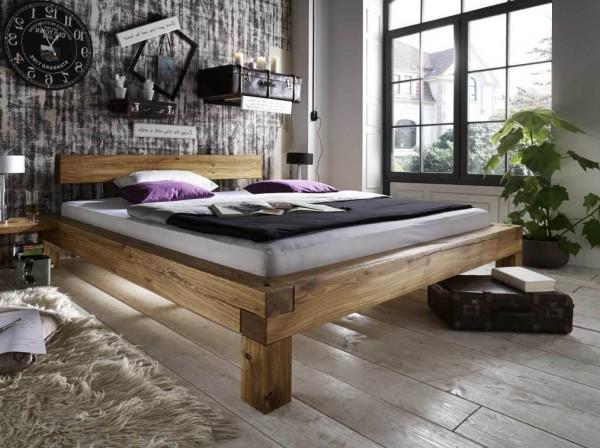 Balkenbett 200x220 cm Überlänge Wildeiche massiv geölt
