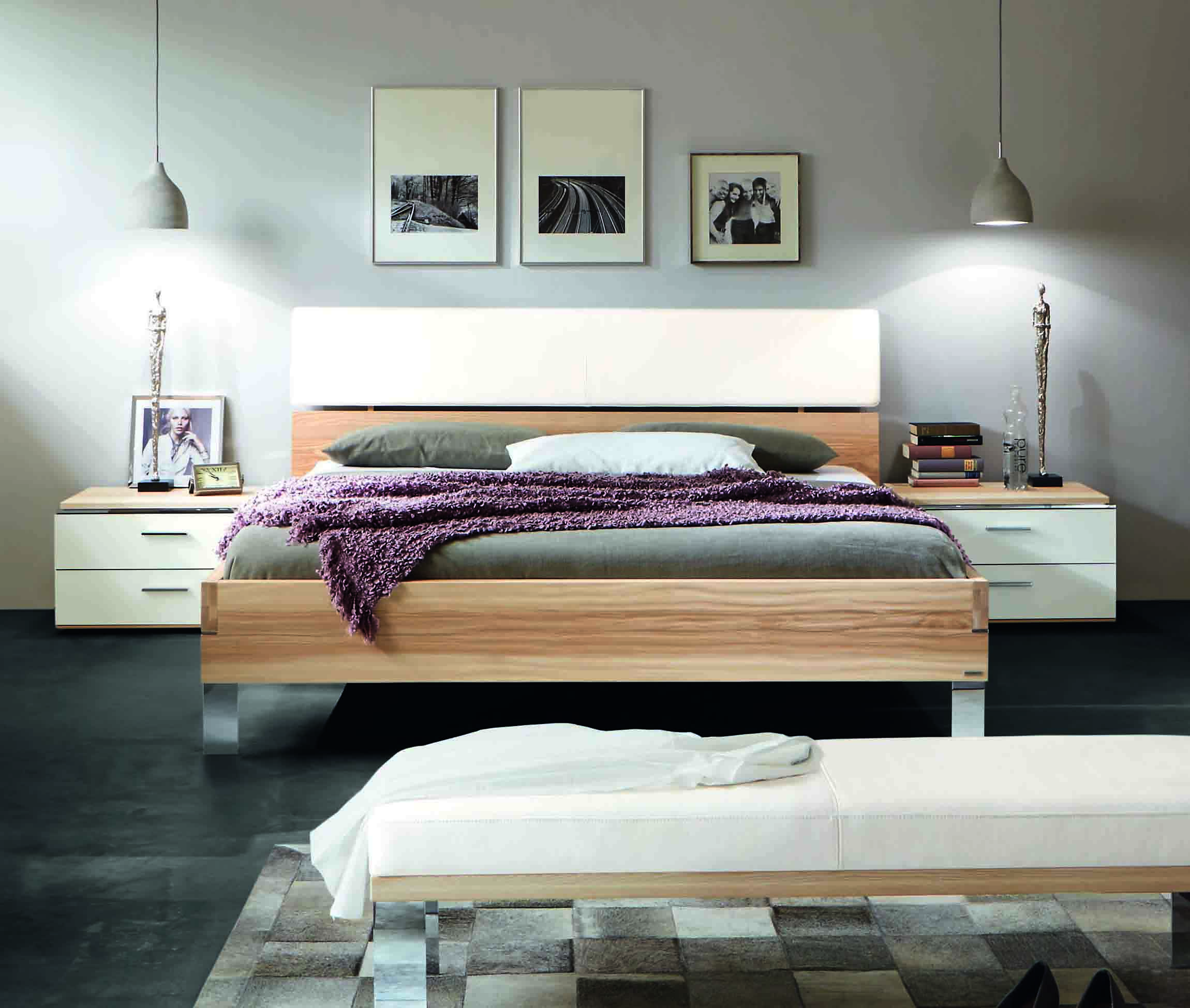 bett thielemeyer loft mit polsteraufsatz strukturesche g nstig massiva m. Black Bedroom Furniture Sets. Home Design Ideas