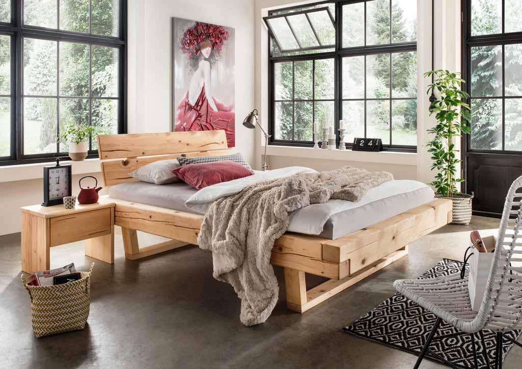 balkenbett unika 180x200 cm fichte massiv mit kufe. Black Bedroom Furniture Sets. Home Design Ideas
