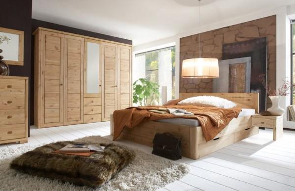 Schlafzimmer Vita mit Funktionsschrank Kiefer gebeizt