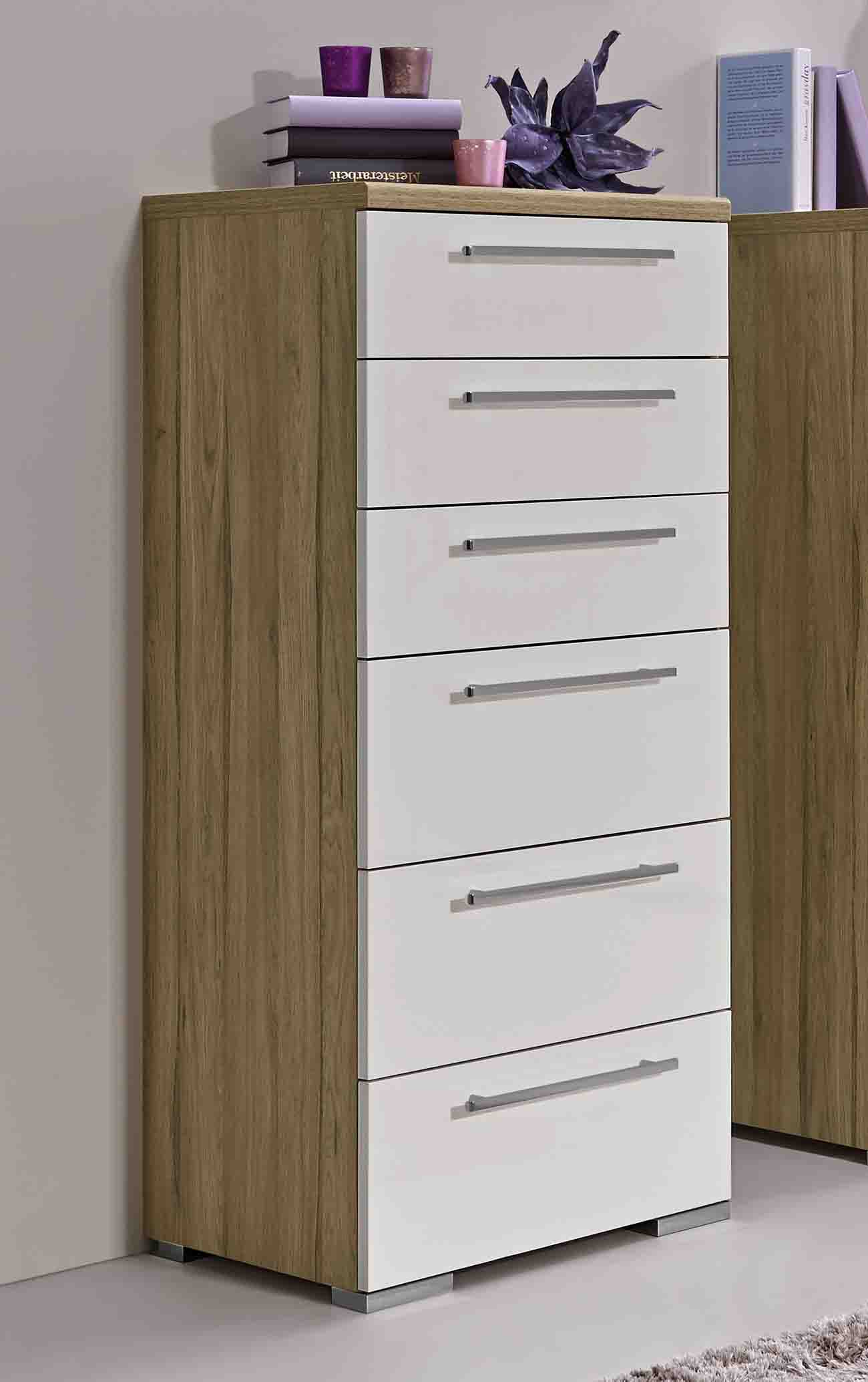 loddenkemper kommode zamaro in bianco hochglanz massiva m. Black Bedroom Furniture Sets. Home Design Ideas