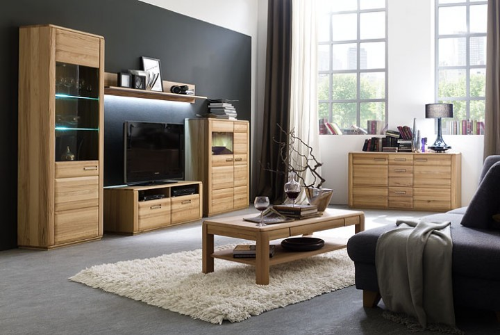 wohnwand sena kernbuche von mca g nstig massiva m. Black Bedroom Furniture Sets. Home Design Ideas