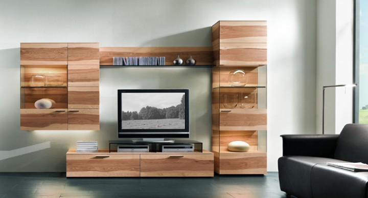 wohnanbauw nde modern wohnwand hartmann pecano in nussbaum. Black Bedroom Furniture Sets. Home Design Ideas