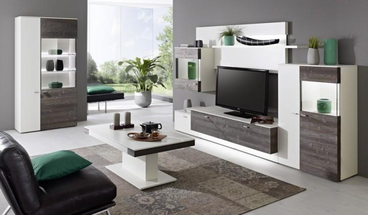 Design Wohnwand Anbauwand Weiß Grau ~ Design Wohnwand Anbauwand Weis Grau  modern  Anbauwand Tessin Lack